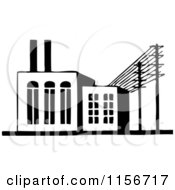 Black And White Retro Factory Building