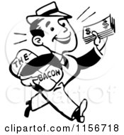 Clipart Of A Black And White Retro Man Taking Home The Bacon Royalty Free Vector Clipart