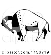 Clipart Of A Black And White Retro Buffalo Royalty Free Vector Clipart