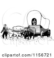 Clipart Of A Black And White Retro Pioneer Covered Wagon Royalty Free Vector Clipart by BestVector