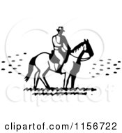 Clipart Of A Black And White Retro Man On Horseback Royalty Free Vector Clipart by BestVector