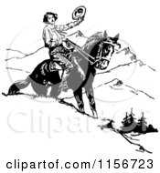 Clipart Of A Black And White Retro Man Holding His Hat On Horseback Royalty Free Vector Clipart