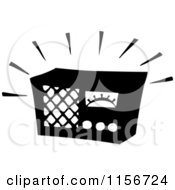 Clipart Of A Black And White Retro Blaring Radio Royalty Free Vector Clipart by BestVector