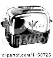 Clipart Of A Black And White Retro Toaster Royalty Free Vector Clipart by BestVector