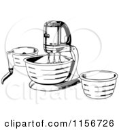 Clipart Of A Black And White Retro Stand Mixer Royalty Free Vector Clipart