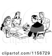 Clipart Of Black And White Retro Couples Dining Together Royalty Free Vector Clipart