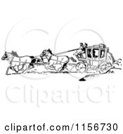 Clipart Of Black And White Retro Western Cowboys And A Stage Coach 2 Royalty Free Vector Clipart by BestVector