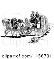 Clipart Of Black And White Retro Western Cowboys And A Stage Coach Royalty Free Vector Clipart by BestVector