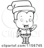 Cartoon Clipart Of A Black And White Blond Male Toddler Christmas Helper Waving Vector Outlined Coloring Page