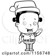 Cartoon Clipart Of A Black And White Female Toddler Christmas Helper Waving Vector Outlined Coloring Page