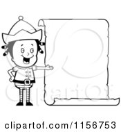 Cartoon Clipart Of A Black And White Girl Elf Presenting A Blank List Vector Outlined Coloring Page