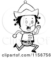 Cartoon Clipart Of A Black And White Little Elf Girl Running Vector Outlined Coloring Page
