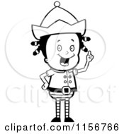Cartoon Clipart Of A Black And White Christmas Elf Girl With An Idea Vector Outlined Coloring Page