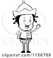 Cartoon Clipart Of A Black And White Christmas Elf Girl Waving Vector Outlined Coloring Page
