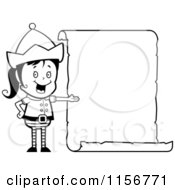 Cartoon Clipart Of A Black And White Female Christmas Elf Presenting A Blank List Vector Outlined Coloring Page