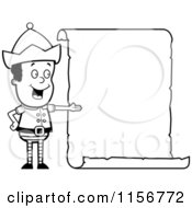 Cartoon Clipart Of A Black And White Christmas Elf Boy Presenting A Blank Scroll Sign Vector Outlined Coloring Page