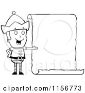 Cartoon Clipart Of A Black And White Male Christmas Elf Presenting A Blank List Vector Outlined Coloring Page