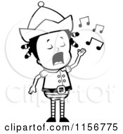 Cartoon Clipart Of A Black And White Little Elf Girl Singing Vector Outlined Coloring Page