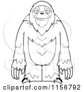 Cartoon Clipart Of A Black And White Standing Sloth Vector Outlined Coloring Page