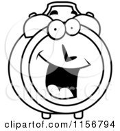 Cartoon Clipart Of A Black And White Happy Smiling Alarm Clock Character Vector Outlined Coloring Page