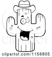 Cartoon Clipart Of A Black And White Happy Cactus Wearing A Hat Vector Outlined Coloring Page by Cory Thoman
