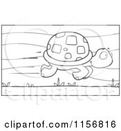 Cartoon Clipart Of A Black And White Fast Tortoise Speeding By Vector Outlined Coloring Page by Cory Thoman