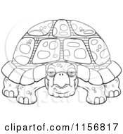 Cartoon Clipart Of A Black And White Grumpy Old Tortoise Vector Outlined Coloring Page by Cory Thoman