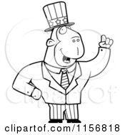 Cartoon Clipart Of A Black And White Uncle Sam Ape In A Suit Vector Outlined Coloring Page