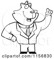 Cartoon Clipart Of A Black And White Business Cat With An Idea Vector Outlined Coloring Page