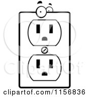 Cartoon Clipart Of A Black And White Electrical Outlet Character Vector Outlined Coloring Page