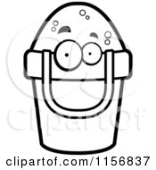 Cartoon Clipart Of A Black And White Bucket Of Sand Character Vector Outlined Coloring Page by Cory Thoman