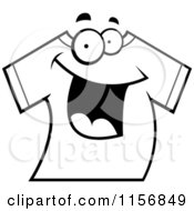 Cartoon Clipart Of A Black And White Happy Smiling T Shirt Vector Outlined Coloring Page by Cory Thoman