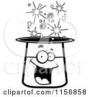 Cartoon Clipart Of A Black And White Happy Smiling Magic Hat Character Vector Outlined Coloring Page