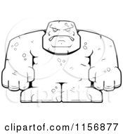 Cartoon Clipart Of A Black And White Bulky Stone Golem Man Vector Outlined Coloring Page