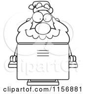 Black And White Plump Santa Using A Desktop Computer