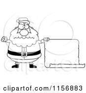 Cartoon Clipart Of A Black And White Plump Angry Santa With A Blank Scroll Sign Vector Outlined Coloring Page