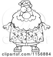 Cartoon Clipart Of A Black And White Chubby Santa In A Hawaiian Shirt Vector Outlined Coloring Page
