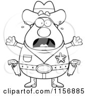 Cartoon Clipart Of A Black And White Plump Scared Sheriff Vector Outlined Coloring Page