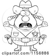 Cartoon Clipart Of A Black And White Fearful Plump Female Sheriff Vector Outlined Coloring Page