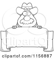 Cartoon Clipart Of A Black And White Sheriff Looking Over A Blank Banner Vector Outlined Coloring Page