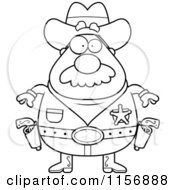Cartoon Clipart Of A Black And White Plump Sheriff Ready To Draw His Pistols Vector Outlined Coloring Page