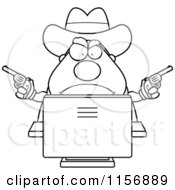 Cartoon Clipart Of A Black And White Chubby Sheriff Using A Desktop Computer Vector Outlined Coloring Page