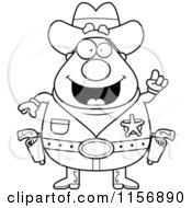 Cartoon Clipart Of A Black And White Plump Sheriff With An Idea Vector Outlined Coloring Page