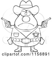 Cartoon Clipart Of A Black And White Tough Plump Sheriff Holding Pistols Vector Outlined Coloring Page