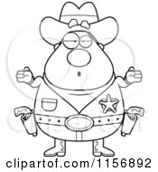 Cartoon Clipart Of A Black And White Plump Cowboy Sheriff Shrugging Vector Outlined Coloring Page