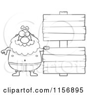 Cartoon Clipart Of A Black And White Pudgy Grandpa Swimmer With A Sign Vector Outlined Coloring Page