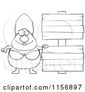 Cartoon Clipart Of A Black And White Pudgy Granny Swimmer With A Sign Vector Outlined Coloring Page