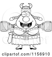 Cartoon Clipart Of A Black And White Plump Female Viking Holding Beer Vector Outlined Coloring Page