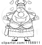 Cartoon Clipart Of A Black And White Loving Plump Female Viking With Open Arms Vector Outlined Coloring Page