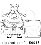 Cartoon Clipart Of A Black And White Plump Female Viking With A Stone Tablet Vector Outlined Coloring Page